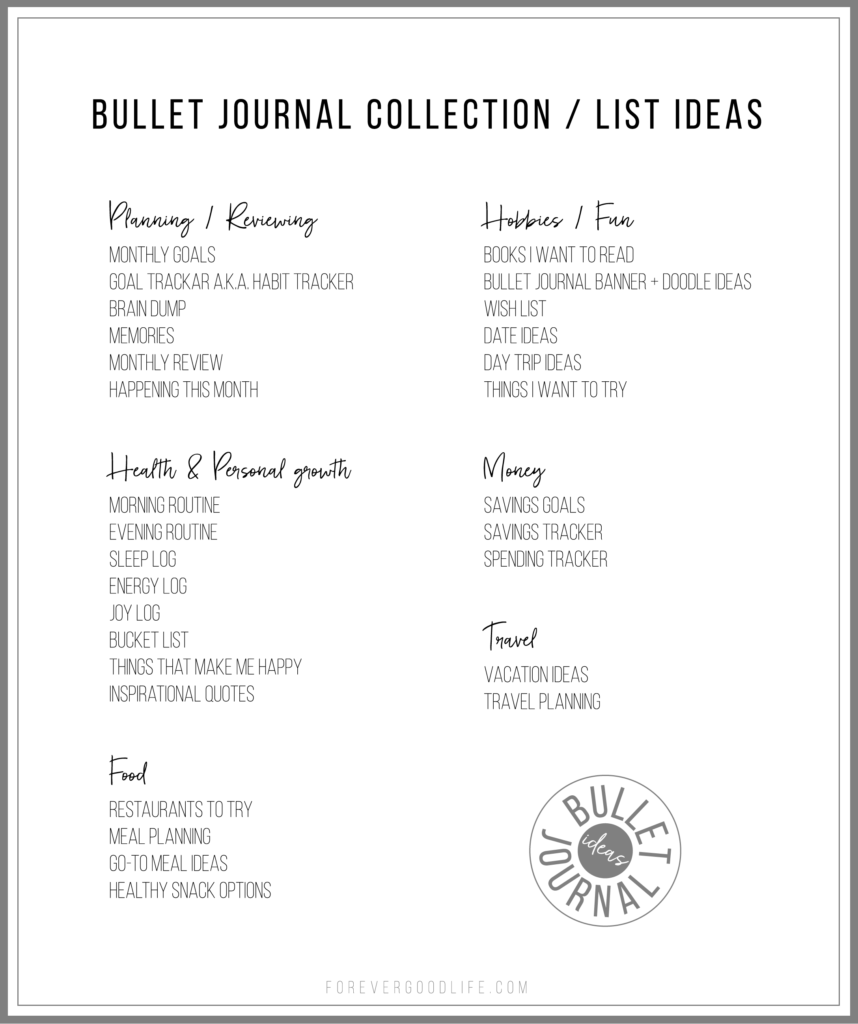 Bullet Journal Ideas - Collections and Lists - ForeverGoodLife.com