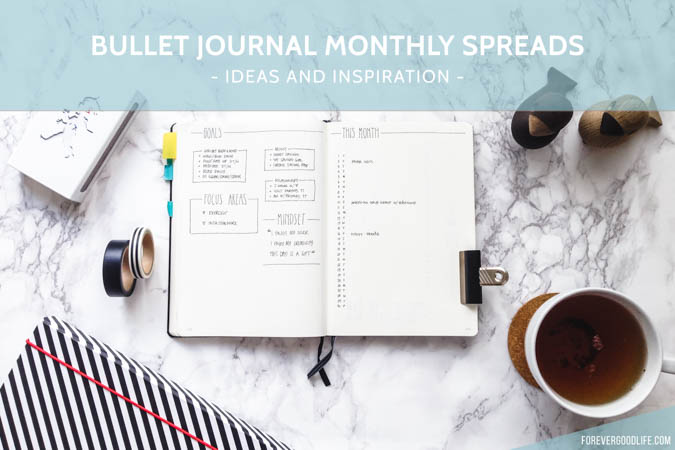 Bullet Journal Monthly Spread / Monthly Layout Inspiration Ideas