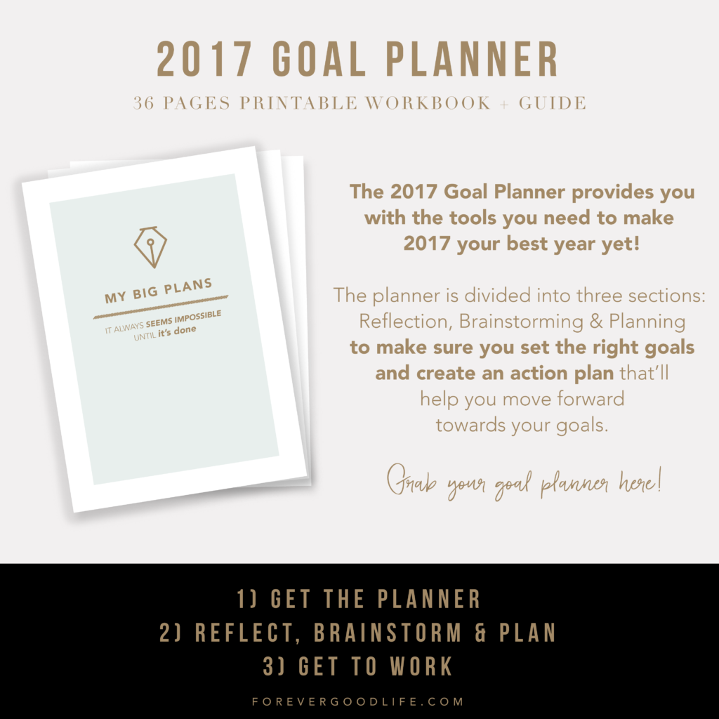 2017 Goal Planner - Goal Setting - New Years Resolutions - ForeverGoodLife
