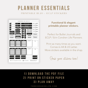 Printable Planner Stickers for Bullet Journals and ECLP - ForeverGoodLife