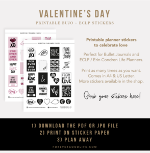 Valentines Day Printable Stickers - Planner Stickers - ForeverGoodLife