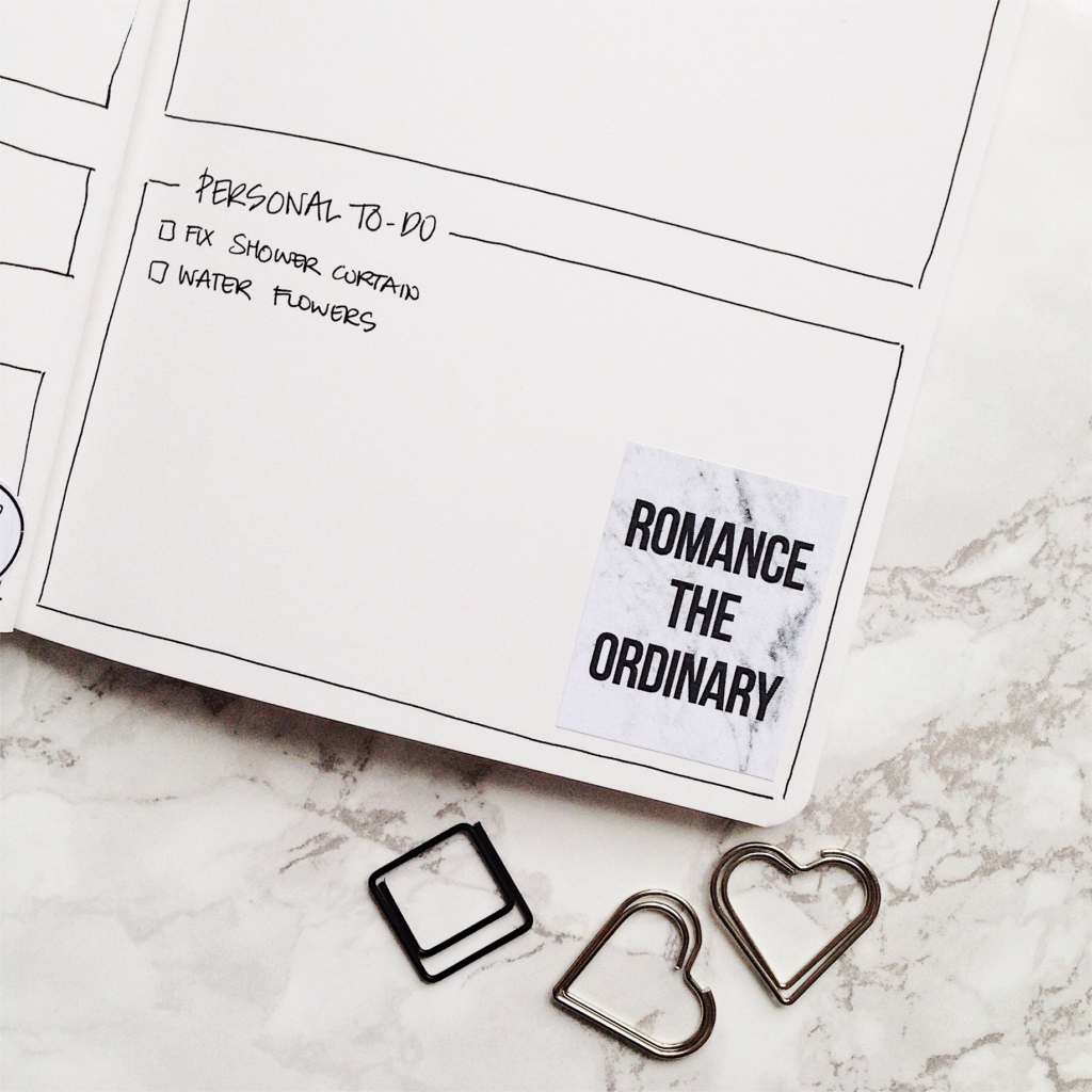Bullet Journal Weekly Spread - Romance the ordinary - ForeverGoodLife