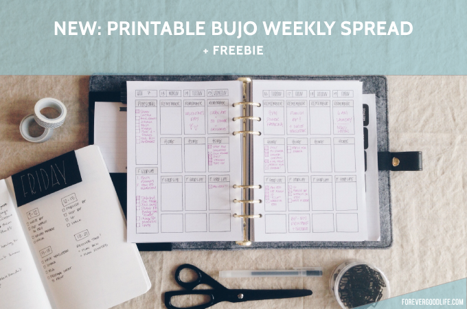 Printable Bullet Journal Weekly Spread + Freebie