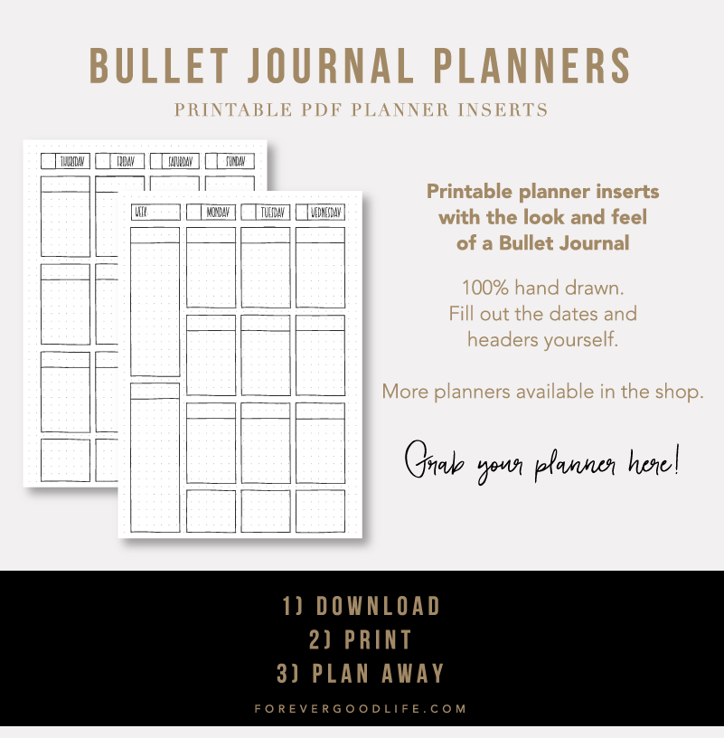 Printable Bullet Journal Planners - ForeverGoodLife on Etsy
