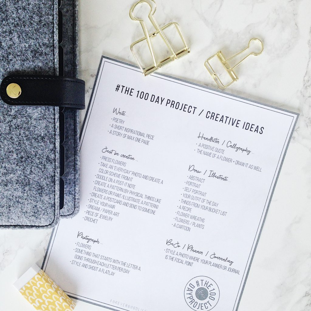 #The100DayProject Free Printable Download - With Kikki K Planner