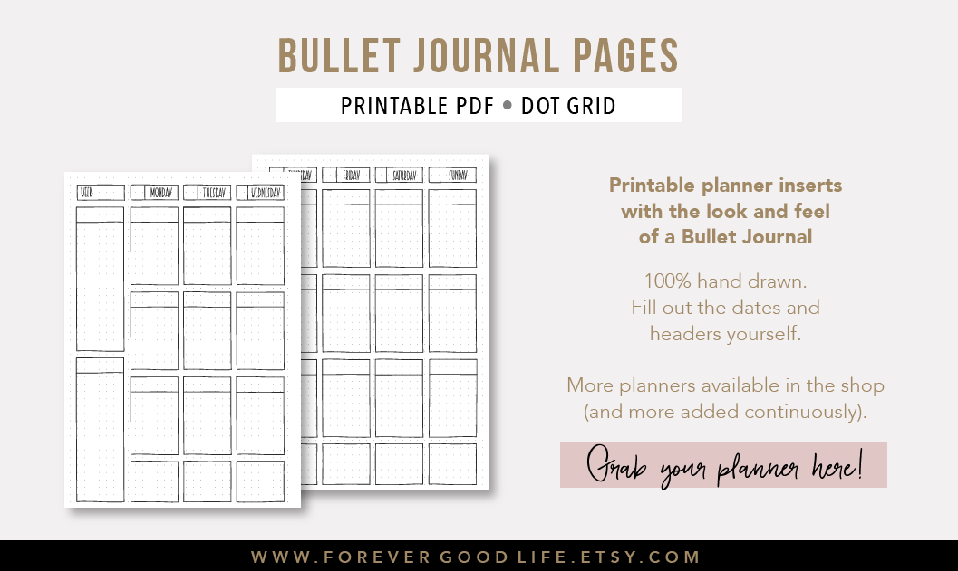 Printable Bullet Journal Pages - ForeverGoodLife on Etsy