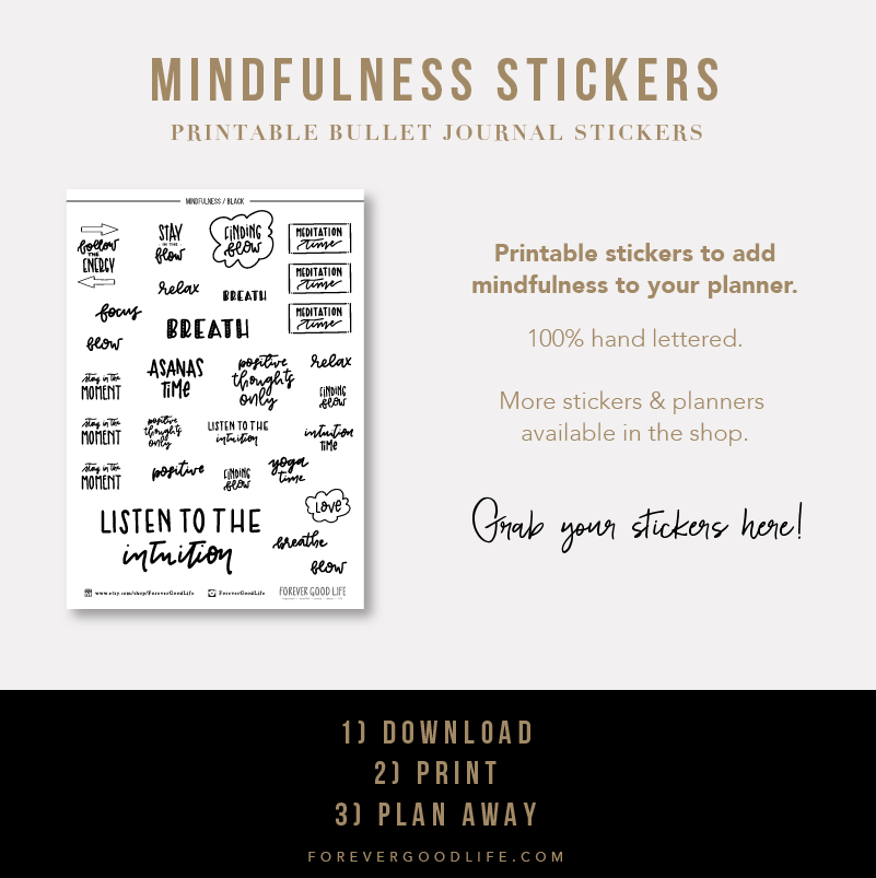 Printable Planner Stickers - Mindfulness Stickers - By ForeverGoodLife