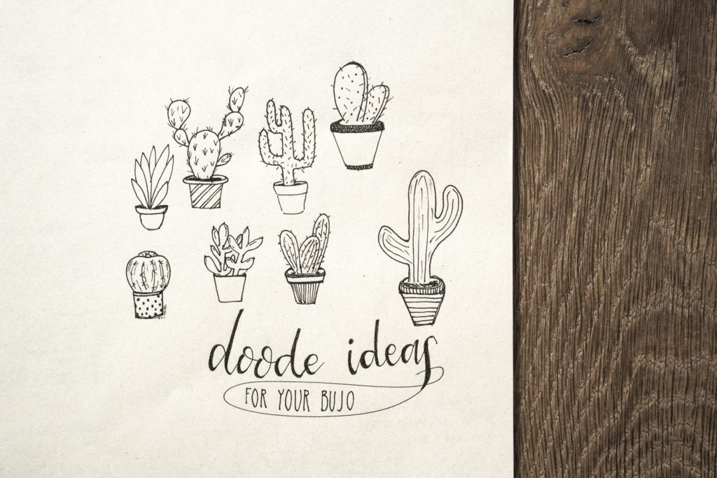 Doodle ideas for your Bullet Journal (Theme: cactus & succulents