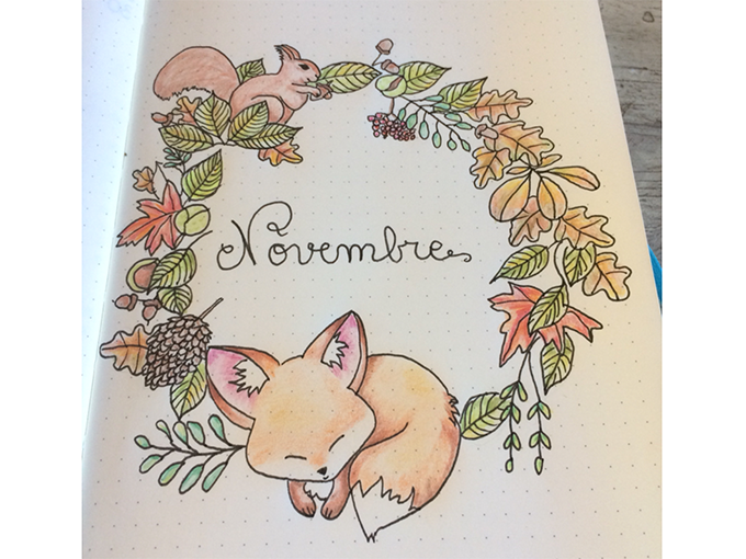 Winter Theme Bullet Journal Front Cover Designs - Bonjour Novembre Fox Unknown - By ForeverGoodLife