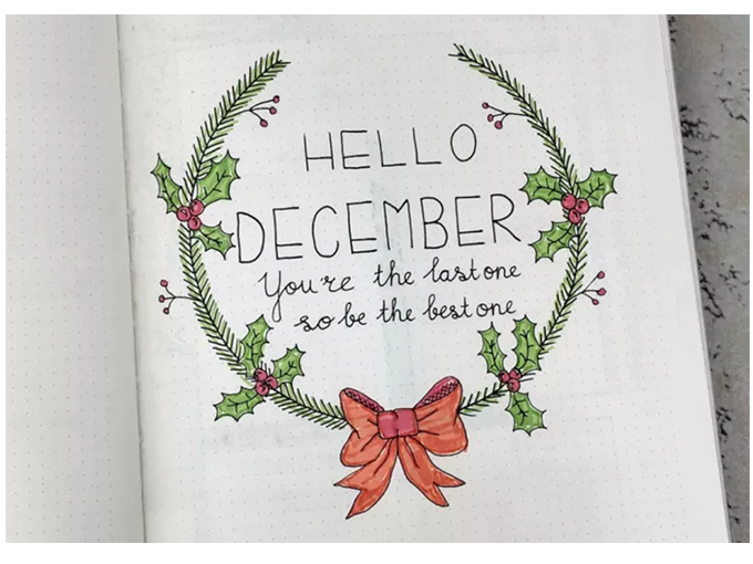 Winter Theme Bullet Journal Front Cover Designs - Hello December by HowToBulletJournal - By ForeverGoodLife