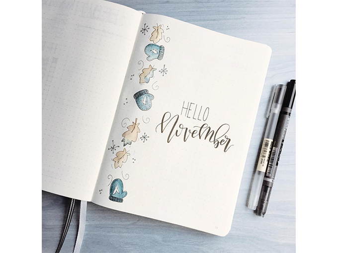 Winter Theme Bullet Journal Front Cover Designs - Hello November RozMakesPlans - By ForeverGoodLife