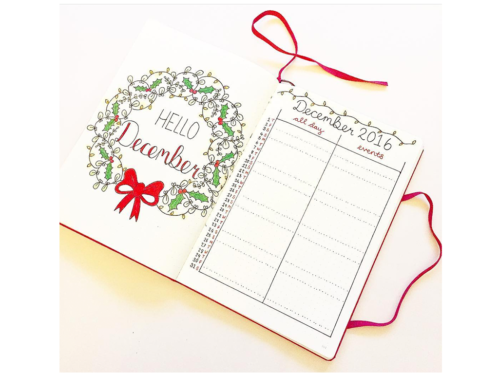 Winter Theme Bullet Journal Front Cover Designs - Hello December by That_Journal - By ForeverGoodLife