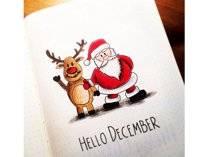 Winter Theme Bullet Journal Front Cover Designs - Hello December bujo_czechgirl - By ForeverGoodLife