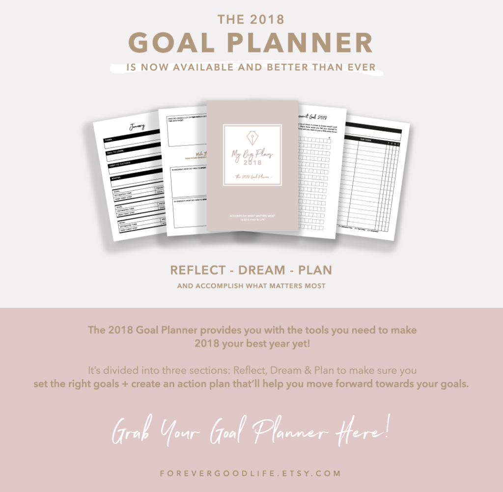 2018 Goal Planner - Rose Gold Botanical Theme - By ForeverGoodLife