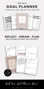 2018 Goal Planner - Rose Gold Botanical Theme - By ForeverGoodLife