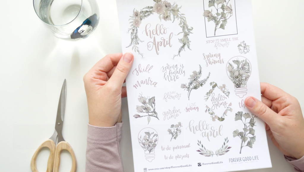 Printable Stickers with April Flower Theme in Soft Blush - Available on Etsy by ForeverGoodLife