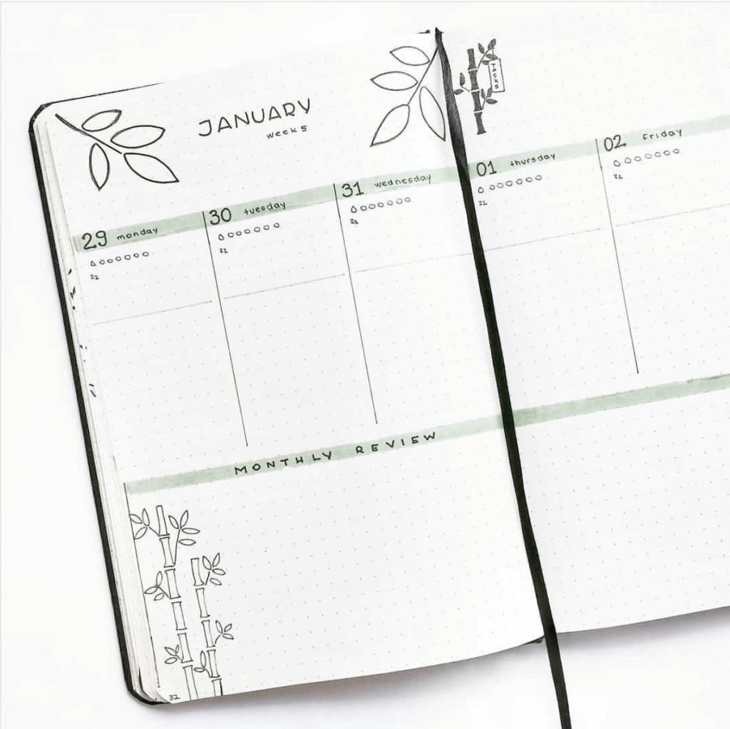 Minimalistic looking weeky bullet journal layout - Inspiration: Minimalistic Bullet Journal Weekly Spreads & How You Can Easily Create Your Own Minimal Spread - blog post by ForeverGoodLife