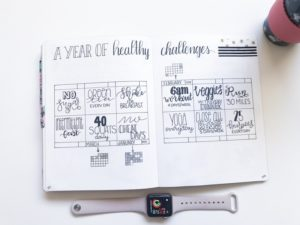 bullet journal a year of healthy challenges layout by the petite planner