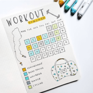 bullet journal exercise tracker by anjahome
