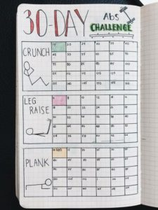 Bullet Journal exercise challenge