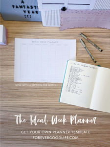 Get your Ideal Week Planner Template from ForeverGoodLife - With Extra Space For Notes