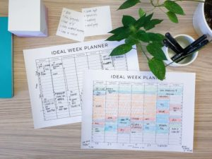 Examples of the ideal week planner in action - a free printable from ForeverGoodLife